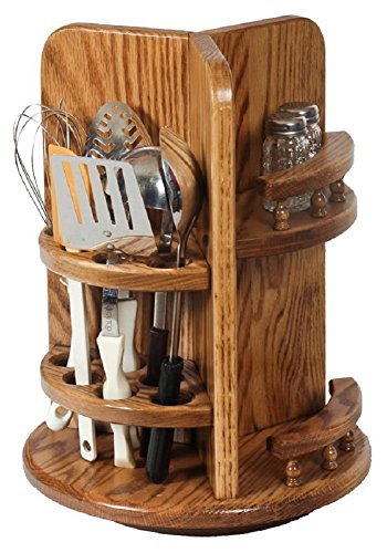 Cabinets Kitchen Amish (Amish Wood Kitchen Utensil Lazy Susan with Paper Towel Holder and Spice Rack (Oak))