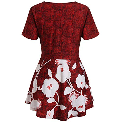(aihihe Womens Plus Size Loose Caimisole Tank Tops Sleeveless Floral Print Flowy Scoop Neck Casual Summer Blouses(003 Red,XXXXL))