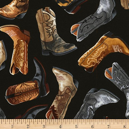 Timeless Treasures Wild West Cowboy Boots Fabric by the Yard, Black ()