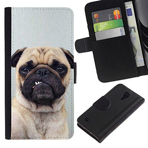 EuroCase - Samsung Galaxy S4 IV I9500 - pug funny dog grey button ear puppy - Cuero PU Delgado caso cubierta Shell Armor Funda Case Cover