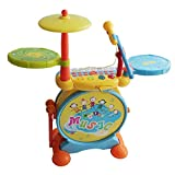 LLZJ Kids Drum Set Toy Percussion Music Instrument Mini Singing Music Piano Microphone Development Educational Game Best Kids Gift Multi-Function Learn-To-Play Rock Band Beat Stool Drum-7837,Yellow