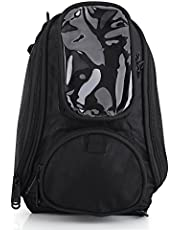 Motorcycle Tank Bag Magnetic Backpack, Universal Motorbike Tank Bag Strap Mount with Strong Magnetic, Riding Oil Fuel Tank Bag Waterproof Oxford Saddle Black