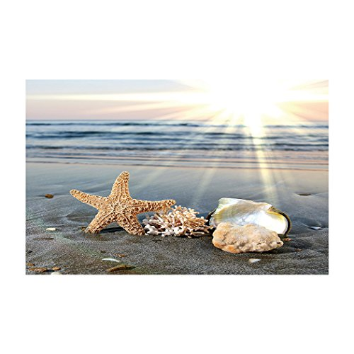 Fantasy Star Aquarium Background Sunshine Beach Starfish Shell Easy to Apply and Remove Fish Tank Wallpaper Sticker Background Decoration 29.5''x17.7'' by Fantasy Star