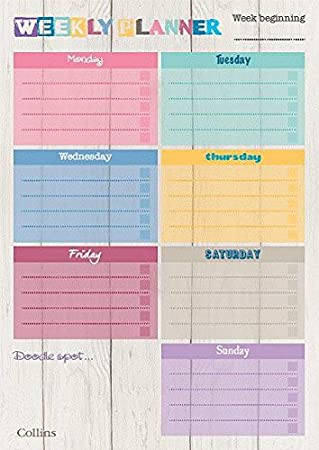 Collins A4 Unique Layout Weekly Planner Pad Pack Of 60 Sheets