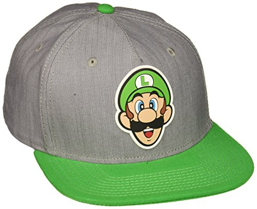 BIOWORLD Nintendo Super Mario Bros - Luigi Rubber Logo Snapback Cap (Mario And Luigi Costumes Kids)