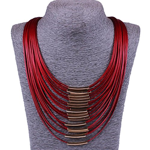 Botrong Fashion Charm Bib Chain Choker Pendant Necklace Jewelry (Red)