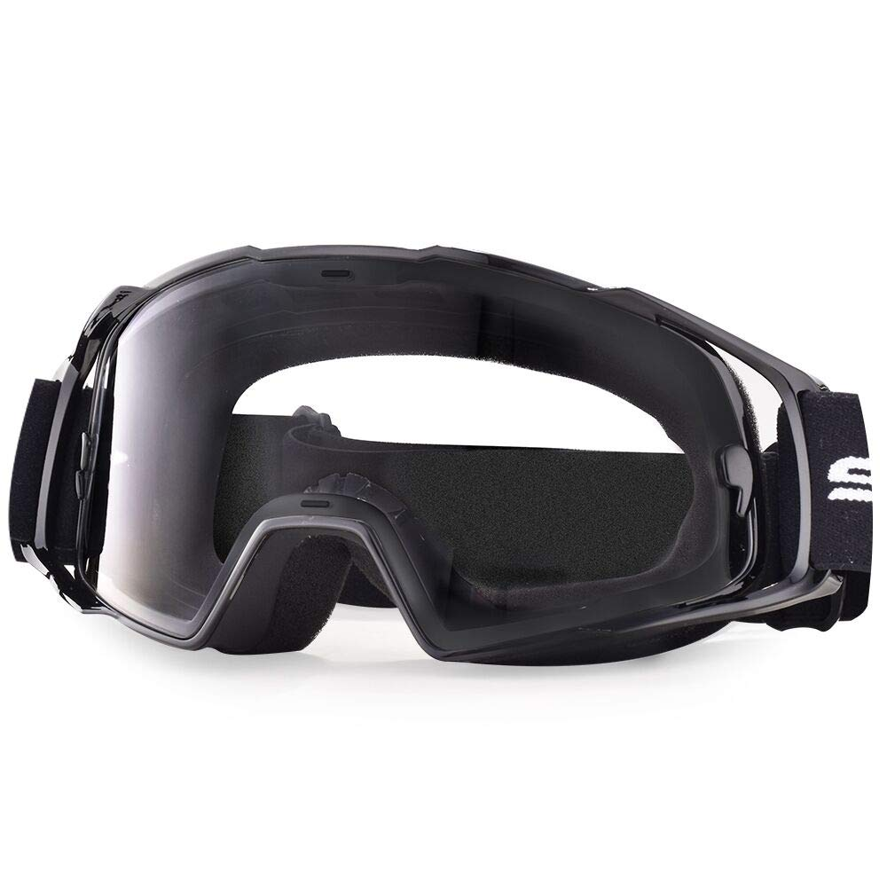 HUBO SPORTS Motorcycle Goggles, MX Goggles for Adults, Motocross Goggles with UV400 and Anti-Scratch(Black)
