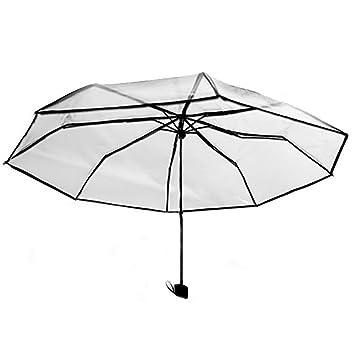 LEYIJU Paraguas Plegable Transparente, Paraguas Abierto Manual, Soporte de 8 Costillas, Paraguas De