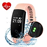 Fitness Tracker - Activity Tracker Smart Band Wireless Watch Bluetooth 4.0 Wristband Waterproof IP67 Bracelet with Heart Rate Monitor - pedometer - Calories track - Sleep monitor (Pink)