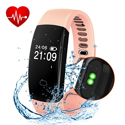 Fitness Tracker, Activity Tracker Smart Band Wireless Watch Bluetooth 4.0 Wristband Waterproof IP67 Bracelet with Heart Rate Monitor, pedometer, Calories track, Sleep monitor (Pink)