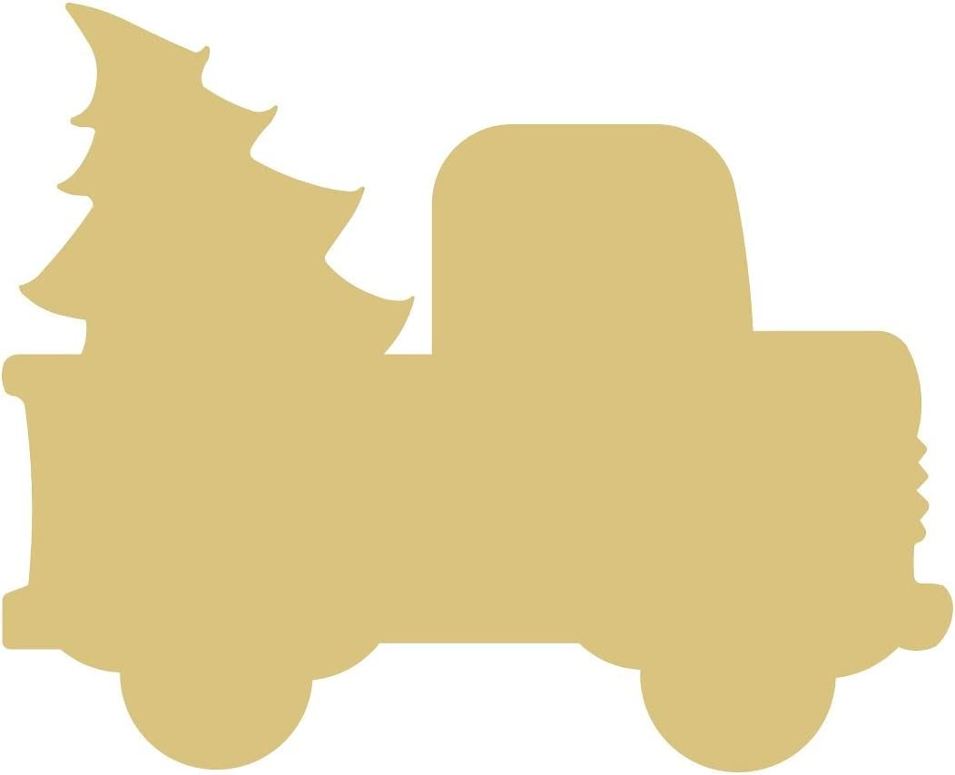 Christmas Truck Cutout Unfinished Wood Holiday Christmas Country Door Hanger MDF Shape Canvas Style 1