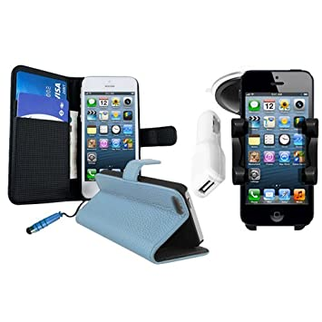online store b5c15 a13dd BLUE LEATHER WALLET CASE + CAR PHONE HOLDER + CAR: Amazon.co.uk ...