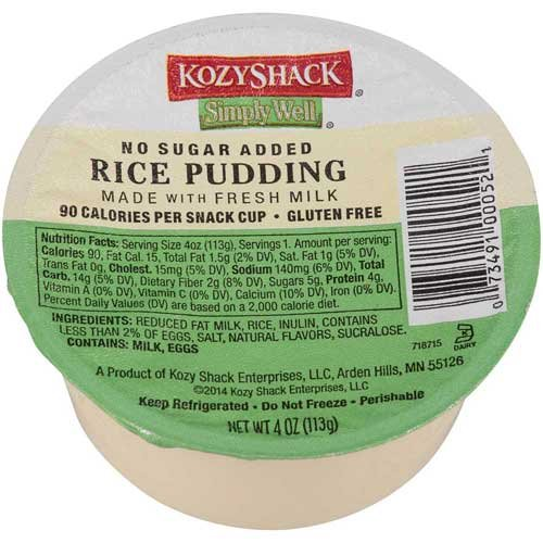 Kozy Shack Rice Pudding No Sugar Added, 4 Ounce -- 48 per case. ()