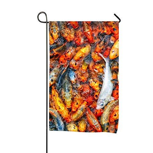 Dxoecia 12x18 1 Side Print Animal Koi Fishes AppliquÉ Garden Flag-Outdoor Flag for Garden Wedding Activity Decor