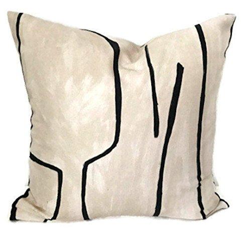 Kelly Wearstler Graffito Pillow Cover in Linen Onyx, Decorat