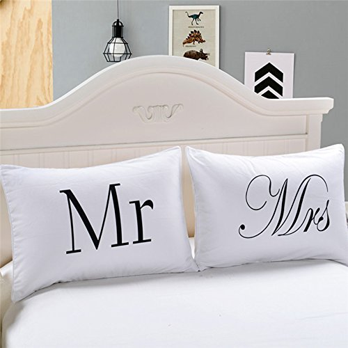 WDDH Couples Pillowcases Mr and Mrs Pillow Cases for Couples Home Decor Throw Pillow Case Valentine's Day Gift Anniversary Wedding Gift