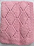 "Babykins Hand Knitted Diamond Baby Blanket 30x36"" (Shell Pink)"