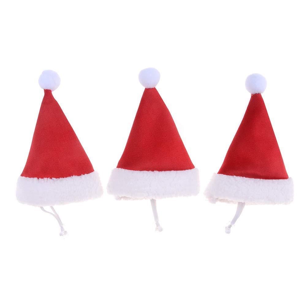Haishell 3 Pcs Pet Christmas Hat Dog Small Santa Cute Birthday