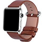 Apple Watch Bands 38mm, Fullmosa Yan Series Lichi Calf Leather Strap Replacement Band with Stainless Metal Clasp for iWatch Series 0 1 2 and Version 2015 2016, Brown