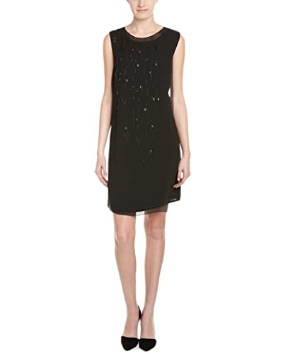 ELIE TAHARI Kimora Black Sleeveless Knee-length Beaded Shift Dress