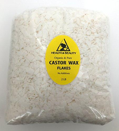 Castor Wax Organic Hydrogenated Pastilles Flakes Natural Premium 100% Pure 32 oz, 2 LB