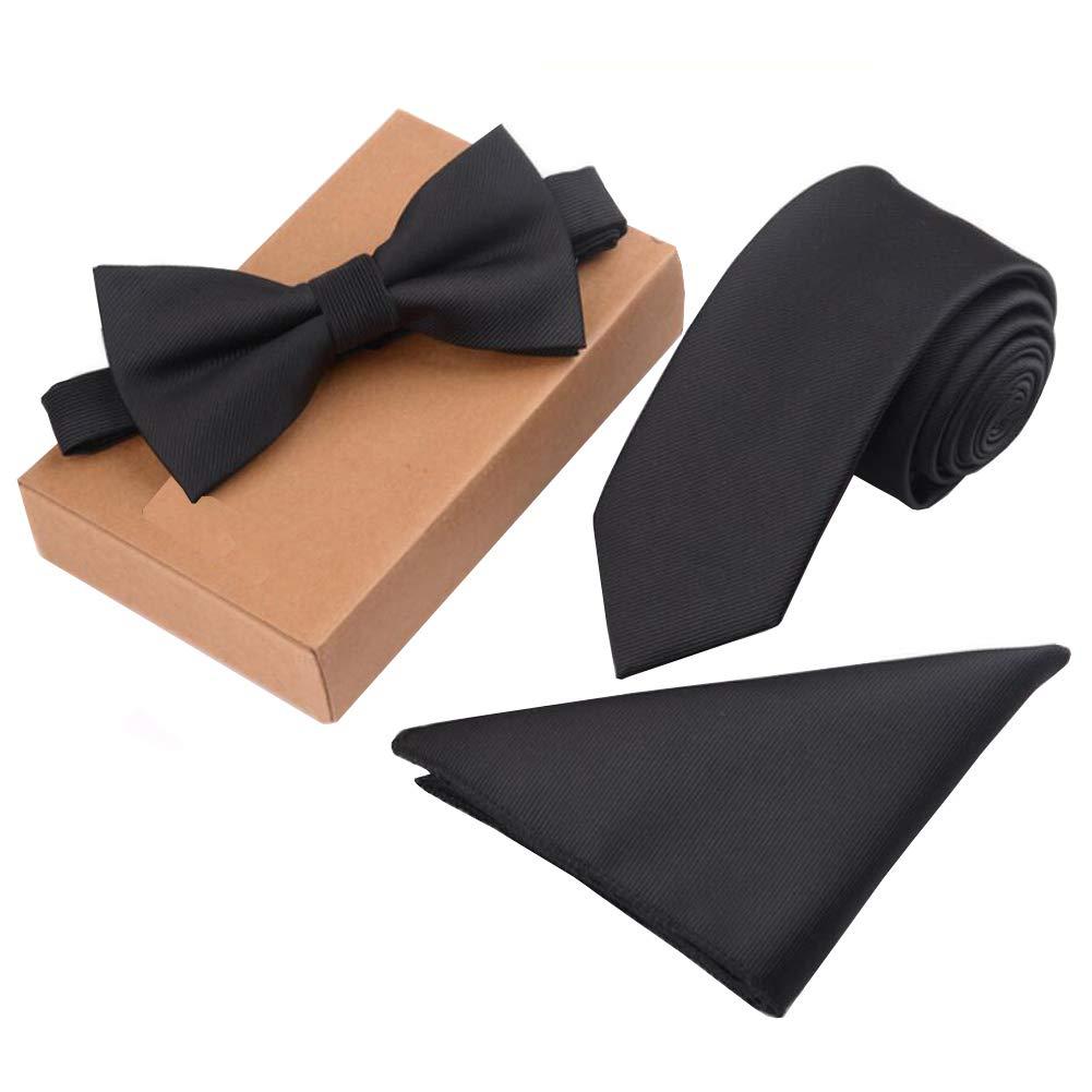 Lanburch Fashionable Premium Formal/Informal Ties Set, Necktie/Bow Tie/Pocket Square for Mens/Boys, Black