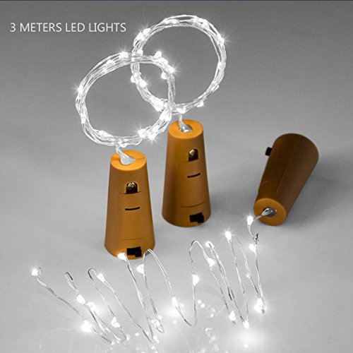 Pack of 3 LED Bottle Corks String Lights 3M 10ft/10w Leds for Bottle DIY,Bedroom,Party,Christmas,Halloween and Wedding Decor-Cool White(Battery Include) (Christmas Battery Lights Uk Operated)