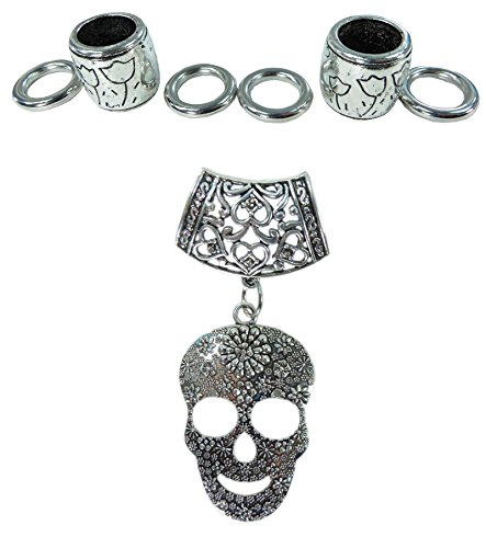 Day of the Dead / Dia de los Muertos sugar skull gothic rockabilly psychobilly DIY scarf jewelry pendant slide bail rings set. Alloy charm tube CCB beads accessory findings for scarf jewelry necklace making. ()