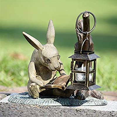 SPI Booklover Rabbit Garden Lanter : Outdoor Decorative Stones : Garden & Outdoor