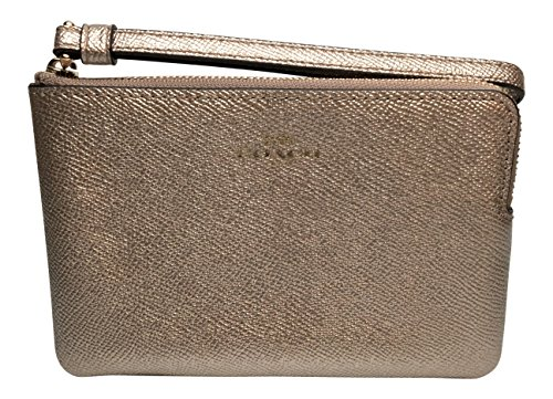 Coach Crossgrain Leather Metallic Corner Zip Wristlet, ()