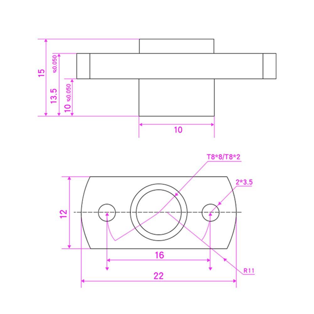 Sunhokey T8 Nut Trapezoidal Screw Nut Pitch 2mm Lead 8mm,3D Printer Z Axis Motor Lead Screw Nut for 8MM Lead Screw 4Pcs