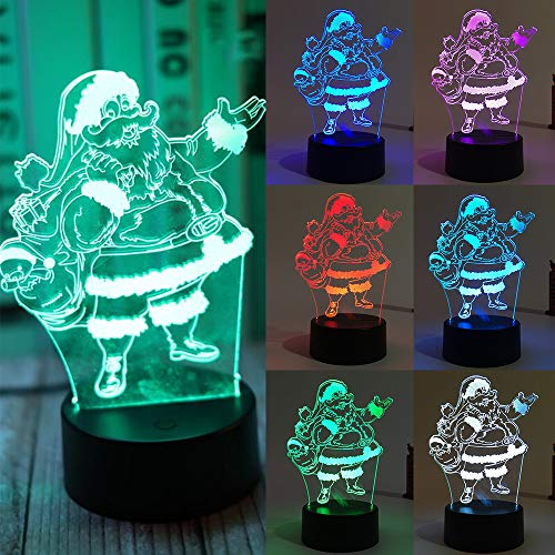 (3D Illusion Platform Night Light, Santa Claus 7 Colors Decor Remote Control 3D Night Touch Button Lamp for Kiddie Kids Children Family Holiday Birthday Gift)