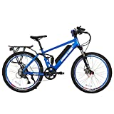 X-Treme Scooters Rubicon Mountain Bicycle Electric Bicycle 48 Volt Lithium – Long Range Electric Bike (Metallic Blue) For Sale