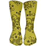 Mens Hipster Hip Hop Graphic Women Crew Socks Casual Hiking Mid-Calf Socks