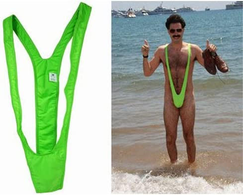 Lime Green Borat Mankini Man Thong Stag Do Fancy Dress Costume ...