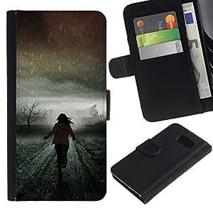 All Phone Most Case / Oferta Especial Cáscara Funda de cuero Monedero Cubierta de proteccion Caso / Wallet Case for Samsung Galaxy S6 // Light Winter Running Scary Meaning