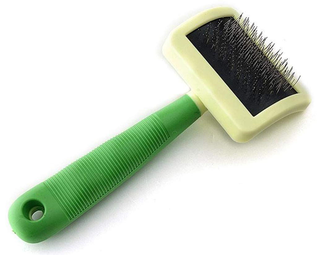 SummarLee Pet Comb Stainless Steel Wire Open Knot Comb Non-Slip Silicone Handle Dog Cat Comb Purple Color Green 2010.56.5cm,Green