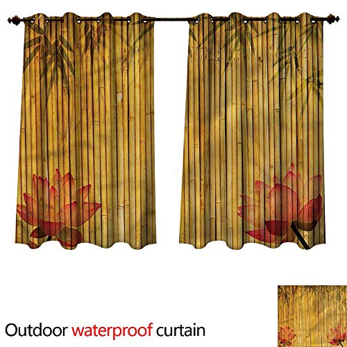 cobeDecor Bamboo 0utdoor Curtains for Patio Waterproof Chinese Stems and Flowers W84 x L72(214cm x 183cm) (Outdoor Patio Phoenix Curtains)