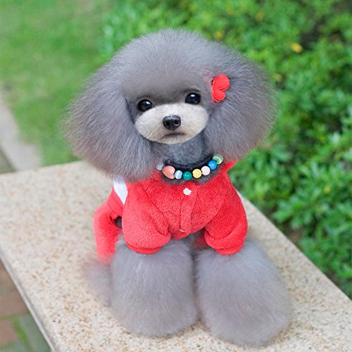 Pet Clothes,Puppy Four Legs Coat Apparels Winter Warm Costume Sweater (XXL, Red)
