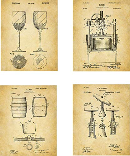 (Wine Patent Wall Art Prints - set of Four (8x10) Unframed - wall art decor for wine lovers)