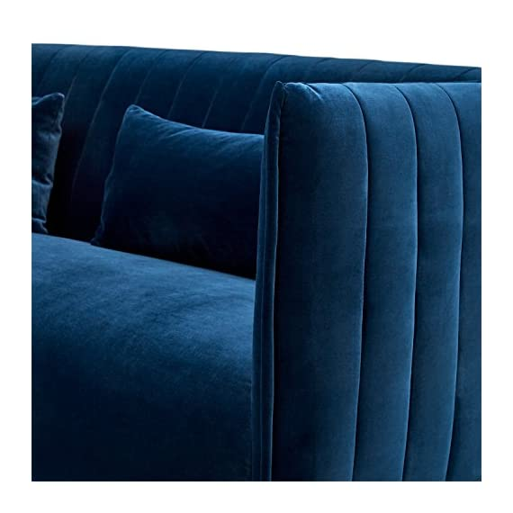 """Amazon Brand – Rivet Frederick Mid-Century Modern Tufted Velvet Sofa Couch, 77.5""""W, Navy Blue - The rectangular shape and channeled upholstery are unmistakably mid-century, while velvet fabric and shiny metal legs bring glamour to this sofa. This piece is a stunning style statement and a conversation starter for your modern-style room. 77.5""""W x 34.6""""D x 31.4""""H; Seat Height: 17.7""""H ; Seat Depth: 23.2""""D; Seat Back Height: 22.2""""H; Arm Height: 31.4""""H; Leg Height: 9.3""""H Velvet fabric on sturdy wood frame; aluminum legs with brass finish - sofas-couches, living-room-furniture, living-room - 51JgAxbPQlL. SS570  -"""
