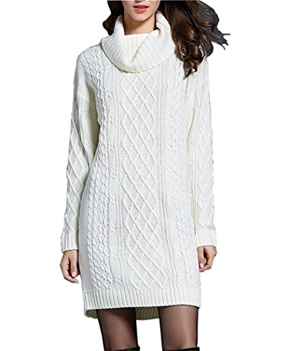 NUTEXROL Women's Long Sleeve Turtleneck Knit Thick Cable Pullover Sweater Dress (Small, White)
