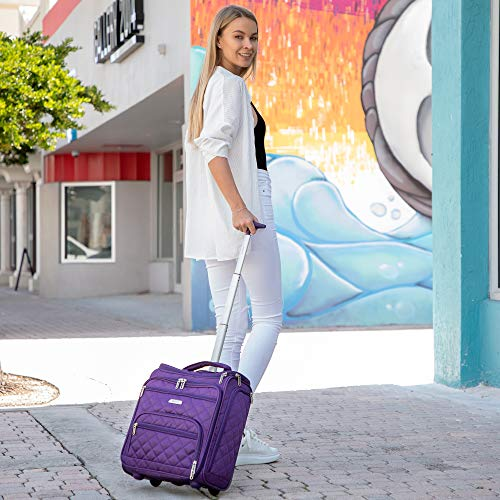 "16.5"" Underseat Women Luggage Carry On Suitcase - Small Rolling Tote Bag with Wheels (Purple)"