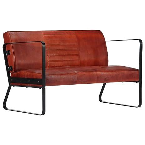 vidaXL Sofá de 2 plazas, Vintage, de Piel, tapizado, sofá ...