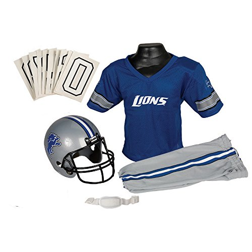[Detroit Lions NFL Youth Uniform Set Halloween Costume] (Male Football Player Costume)