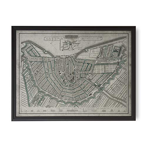 Archive Print Co. Amsterdam Map Wall Decor Circa Early 20th Century, Framed Map Options Available (Framed | Large, Matte Black Frame, 50 1/4