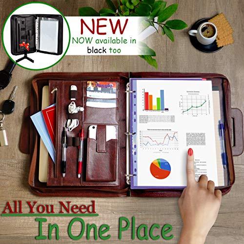 Premium Portfolio Binder Organizer - Vegan Leather Zippered Closure Padfolio Briefcase File Folder + Adjustable Smartphone/Tablet Stand (Brown) by Ofir Sales (Image #2)