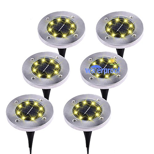 KINGMAZI Solar Ground Lights, 8 LED Garden Pathway Outdoor In-Ground Lights, utdoor Garden Pathway Waterproof In-Ground Driveway Lawn Walkway Flood Lights 8 LEDs Disk Lights 6 Pack (Warm White)