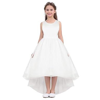 Iiniim Enfant Fille Ado Robe De Princesse Baptême Blanche Satin Robe De Cérémonie Longue Robe De Mariage Tulle Asymétrique Robe Sans Manche Nu Dos V