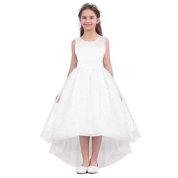22d0f74ab585e IEFIEL Enfants Robe Demoiselle d honneur Filles Robe De Mariage sans  Manches Grande Bowknot Satin